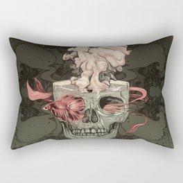 Red Fish and Smokey Skull Rectangular Pillow