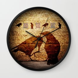 Huginn & Muninn on the wall Wall Clock