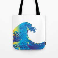 hokusai Tote Bags featuring Hokusai Rainbow_B by FACTORIE