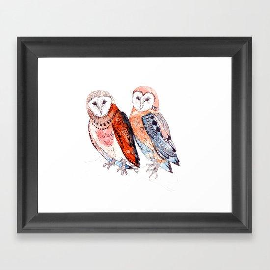LOVE owls Framed Art Print