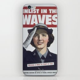 Vintage poster - Enlist in the Waves iPhone Skin