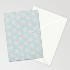 Merry christmas- pink snowflakes and snow on aqua backround Stationery Cards