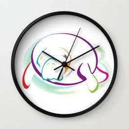 Rainbow Manatee Wall Clock