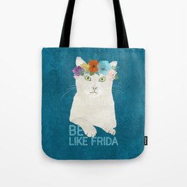 Be like Frida! White cat in flower crown on blue Tote Bag