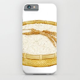 Watercolor Illustration of A bamboo basket of rice iPhone Case
