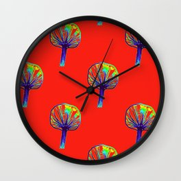 Little Trees (red) Wall Clock