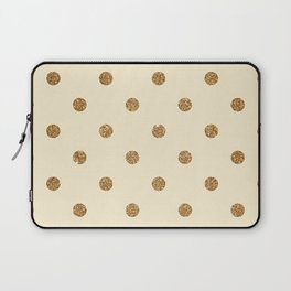 Blanched Almond Gold Glitter Dot Pattern Laptop Sleeve