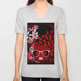 Afro Diva : Sophisticated Lady Red Unisex V-Neck