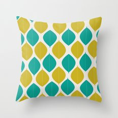 TEAL AND GREEN LEAVES Throw Pillow