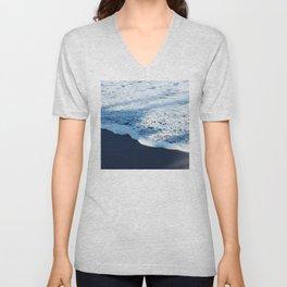 Ebony Black Sand Tropical Beach With Blue Shadows Unisex V-Neck