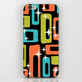 Retro Mid Century Modern Abstract Pattern 222 Orange Chartreuse Turquoise iPhone Skin