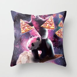 Space Sloth With Pizza On Panda Riding Ice Cream Throw Pillow