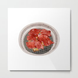 Watercolor Illustration of a Cuisine - Sliced beef on a hot grill Metal Print