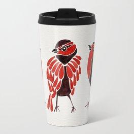 Finches – Red & Black Palette Travel Mug
