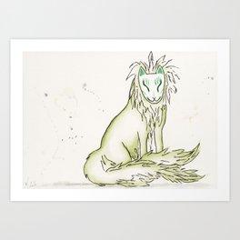 Moss Hidden Kitsune.  Art Print