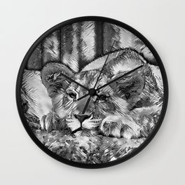 AnimalArtBW_Lion_20171205_by_JAMColors Wall Clock