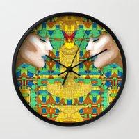 nouveau Wall Clocks featuring Nouveau Girl by Steve W Schwartz Art