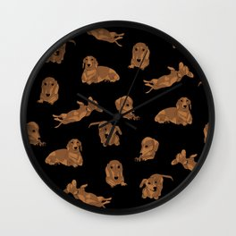 Short Haired Dachshund Pattern Wall Clock