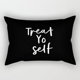 Treat Yo Self black-white contemporary minimalist typography poster home wall decor bedroom Rectangular Pillow