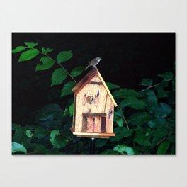 Little Wren on Birdhouse Canvas Print