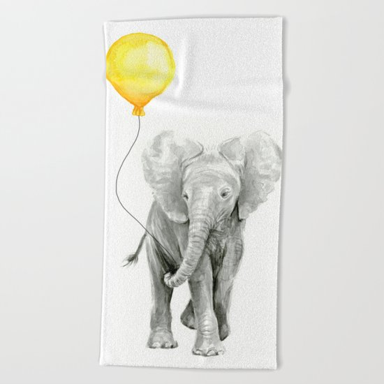 Elephant Watercolor Yellow Balloon Whimsical Baby Animals Beach Towel