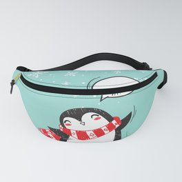 Cute Winter Christmas Holiday Snow Blue Fanny Pack
