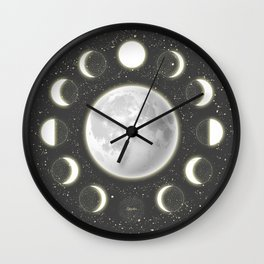 Telescope Dreamy Shine-Phases of the Moon Wall Clock