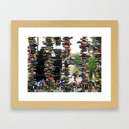 Lovers padlocks in Prague Framed Art Print