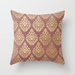 Burgundy rose gold elegant damasque Throw Pillow