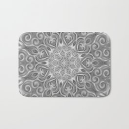 Gray Center Swirl Mandala Bath Mat