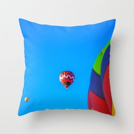 Flying Away hot air balloons Throw Pillow