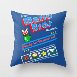Super Mario Bros Plumbing Throw Pillow