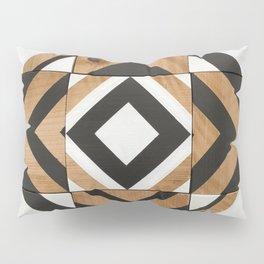 Modern Wood Art, Black and White Chevron Pattern Pillow Sham