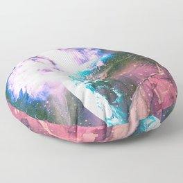 Space Earth Watercolor Floor Pillow