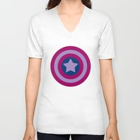 bisexual V-neck T-shirts featuring American Pride (bisexual edition) by Nikki Homicide