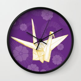 Paper Crane and Cherry Blossoms Wall Clock
