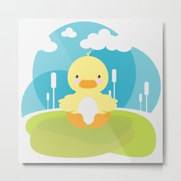 Little duck in pond Metal Print