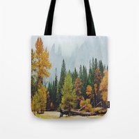 yosemite Tote Bags featuring Yosemite by Warren Silveira + Stay Rustic