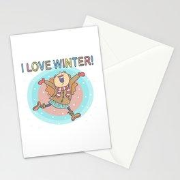 I Love Winter Girl Stationery Cards
