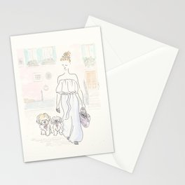 Dogs in Venice Pastel Colors with Fashion  Stationery Cards