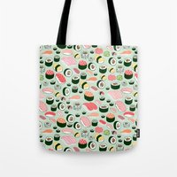 sushi Tote Bags featuring Sushi Love by Kristin Nohe Juchs