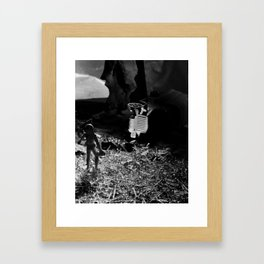 Future Man Brings Aid Framed Art Print