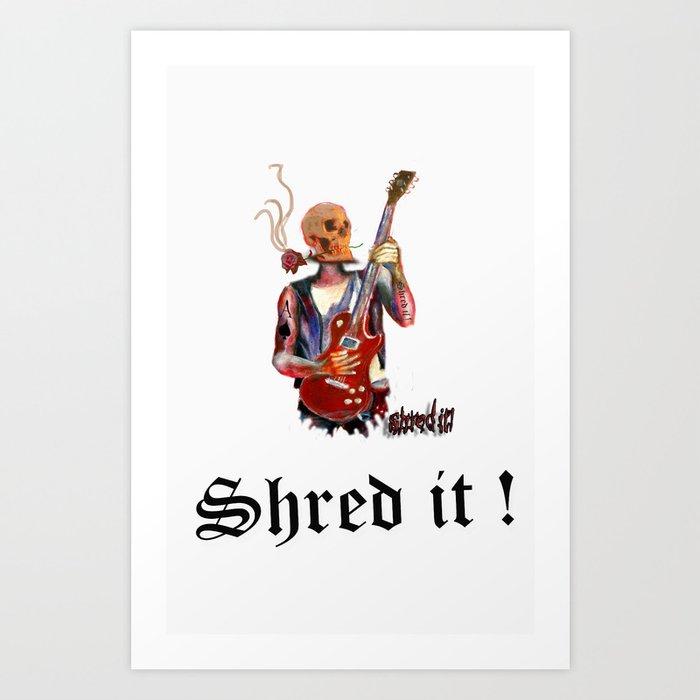 Shred it Skull guitar player  Art Print