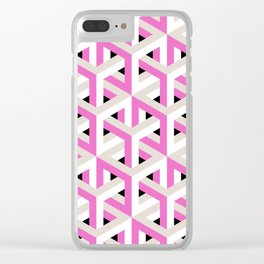 Pink and White Pattern with Grey and Black Fractal Art Clear iPhone Case