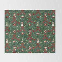 Winter Friends (Green) Throw Blanket