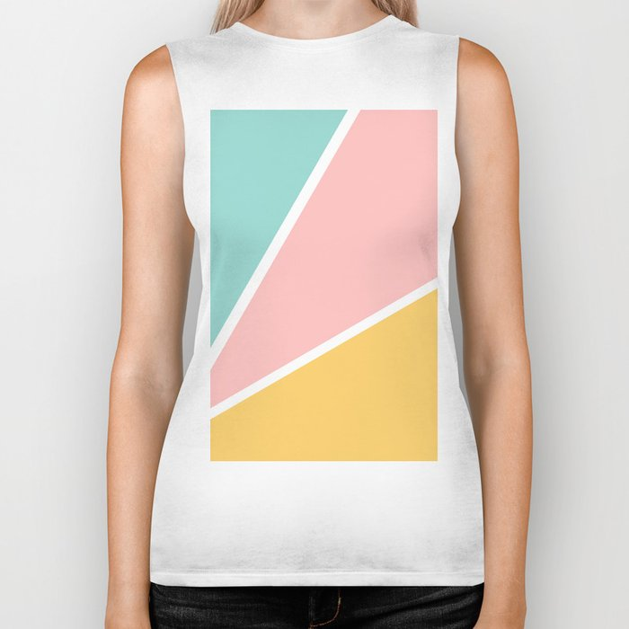Tropical summer pastel pink turquoise yellow color block geometric pattern Biker Tank