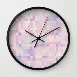 Pink Lavender Blue Gray Pixels Wall Clock