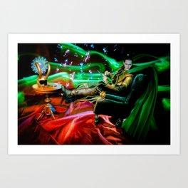 Mimicking Hiddleston's Chair Pose Art Print