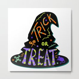 Halloween Witch Hat With Trick Or Treat Metal Print