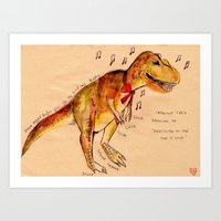 trex Art Prints featuring Trex by Loulou Androlia